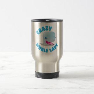 crazy whale lady travel mug