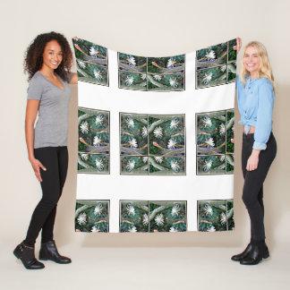 Crazy White Cactus Blooms Fleece Blanket