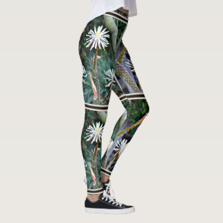 Crazy White Cactus Blooms on Women's Leggings