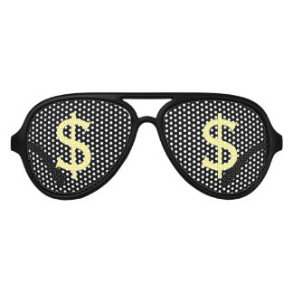 Crazy Yellow Dollars Shopping Stare Aviator Sunglasses