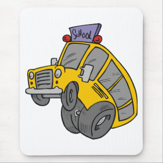 Crazy Yellow School Bus Mouse Pad