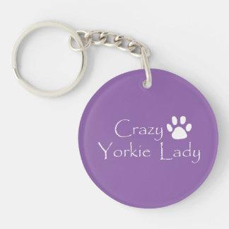 Crazy Yorkie Lady Keychain