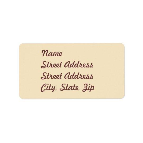 Cream  Address Sticker