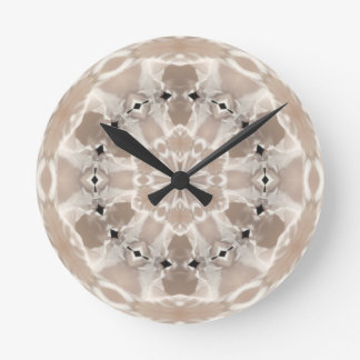 cream and beige cafe au lait abstract art round clock