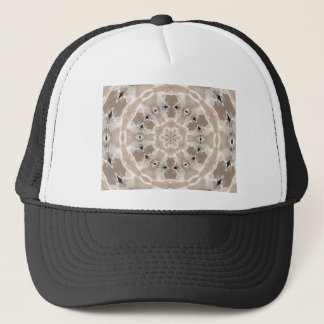 cream and beige cafe au lait abstract art trucker hat