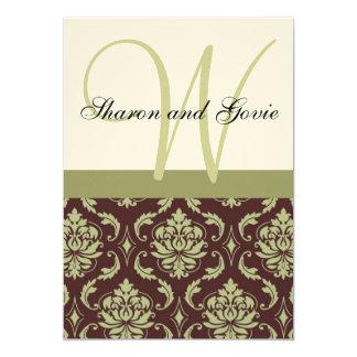 Cream and Brown Damask Monogram Wedding Invitation
