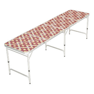 Cream And Cinnamon Brown Geometric Retro Pattern Beer Pong Table