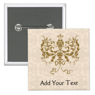 Cream and Gold Damask 2 Inch Square Button
