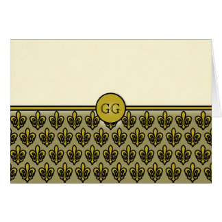 Cream and Gold Fleur De Lis Monogrammable Cards