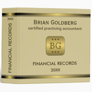 Cream and Gold Plate CPA 2 Inch Financial Binders
