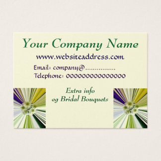 Cream and Green Striped Flower Bouquet Business Card