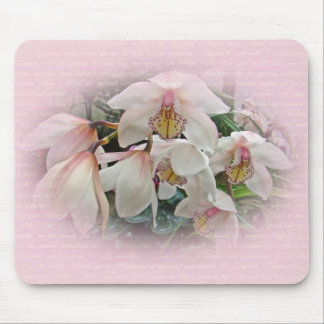Cream and Pink Orchids Mouse Pad