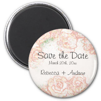 Cream and Pink Roses Save the Date Magnet