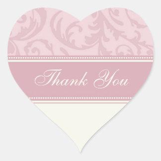 Cream and Pink Thank You Wedding Envelope Seals Heart Sticker