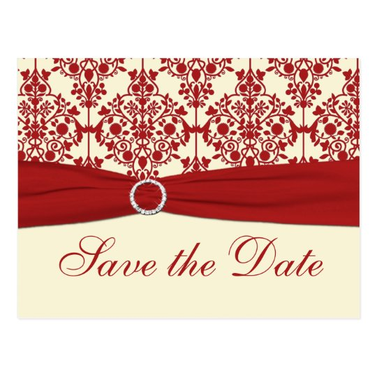 Cream and Red Damask Save the Date Postcard