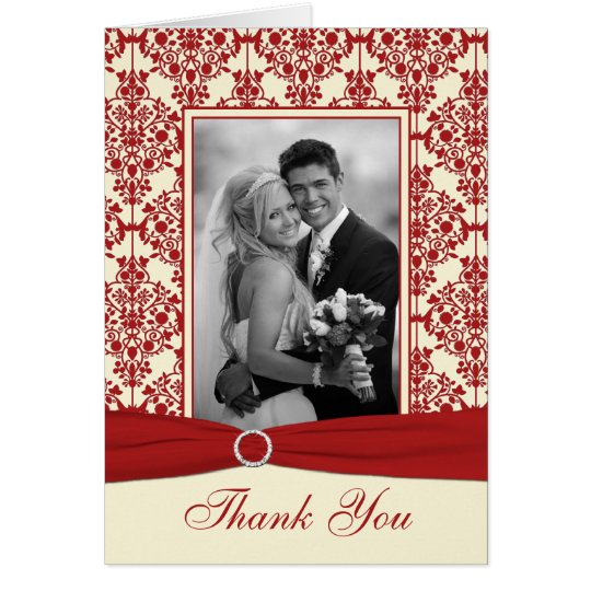 Cream and Red Damask Thank You Card with Photo