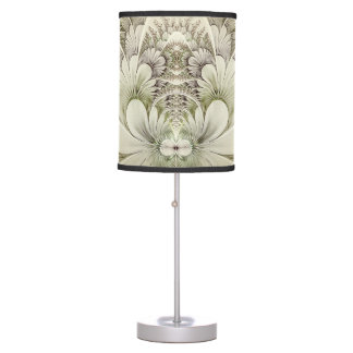 Cream and Taupe Swirl Floral Fractal Design Lamp