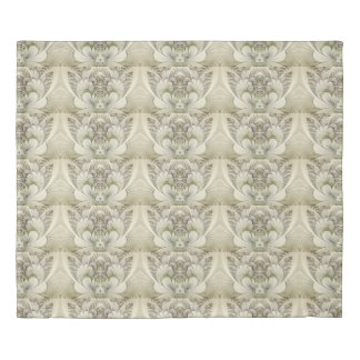 Cream and Taupe Swirl Floral Fractal Duvet Cover