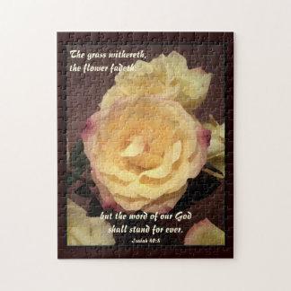 Cream Artwork Rose Bible Verse Puzzle