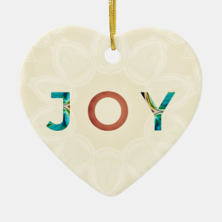Cream Background Modern Christmas 'Joy' Ceramic Ornament