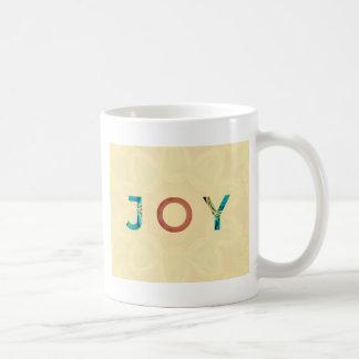 Cream Background Modern Christmas 'Joy' Coffee Mug