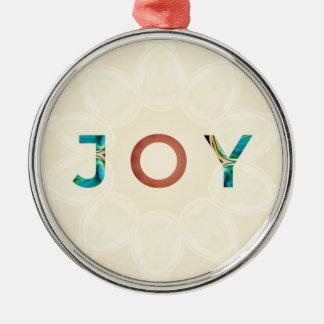 Cream Background Modern Christmas 'Joy' Metal Ornament