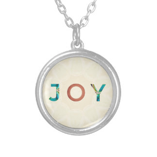 Cream Background Modern Christmas 'Joy' Silver Plated Necklace