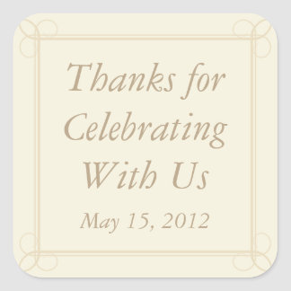 Cream & Beige Thank You Stickers and Favor Labels