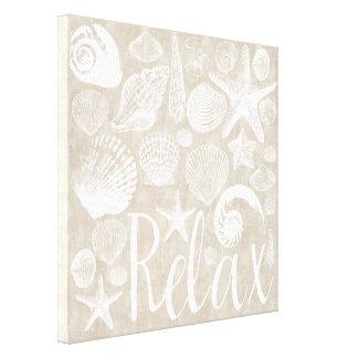 Cream Beige White Beach Shells Relax Canvas Print