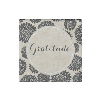 Cream Black Flowers Gratitude Stone Magnets