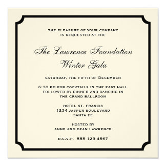 Cream black square frame corporate holiday formal personalized invite