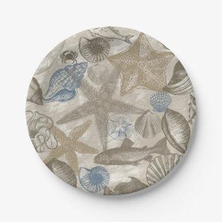 Cream Blue Beach Sea Shells Paper Plate