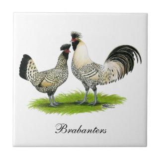 Cream Brabanter Chickens Ceramic Tile