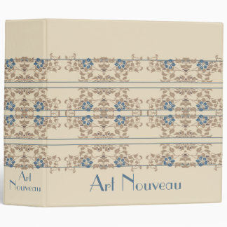 Cream brown and blue art nouveau floral pattern 3 ring binders
