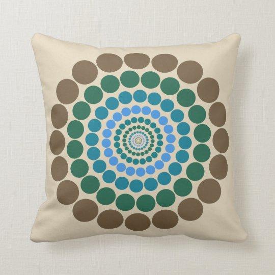 cream brown blue Circle pattern pillow