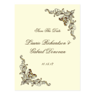 Cream Brown Gold Ornate Jewelled Save The Date Postcard