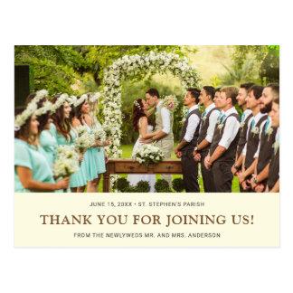 Cream Brown Wedding | Bride Groom Photo Thank You Postcard