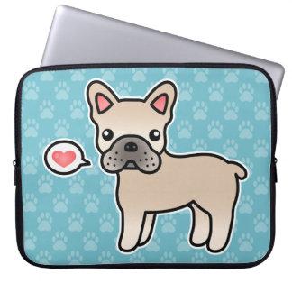 Cream Cartoon French Bulldog Love Laptop Sleeve