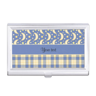 Cream Checks, Moons & Stars Business Card Holder