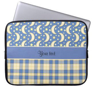 Cream Checks, Moons & Stars Laptop Sleeve