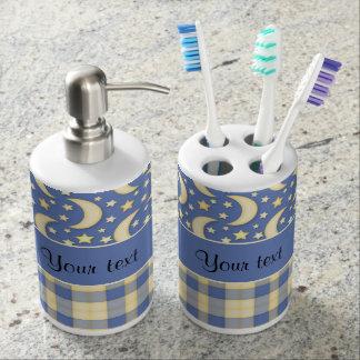 Cream Checks, Moons & Stars Soap Dispenser And Toothbrush Holder