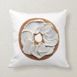 Cream Cheese Bagel Throw Pillow