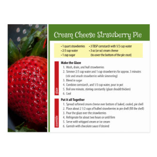 Cream Cheese Strawberry Pie Recipe Postcard