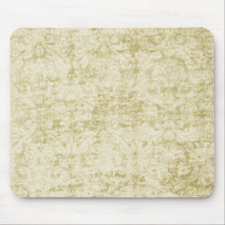 Cream Colored Damask floral Wallpaper Pattern Mouse Pad