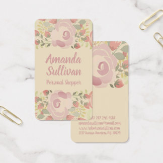 Cream colored flowers business card