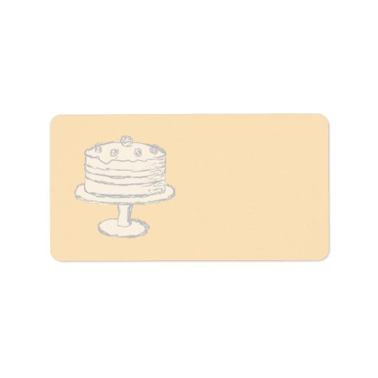 Cream Colour Cake on Beige Background.
