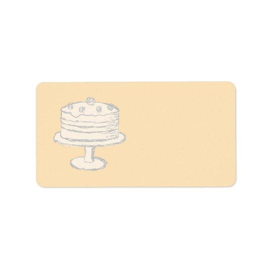 Cream Colour Cake on Beige Background. Label