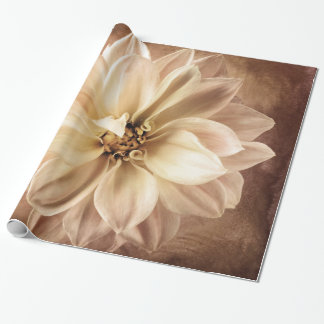 Cream Dahlia Flower - Dahlias Floral Background Wrapping Paper