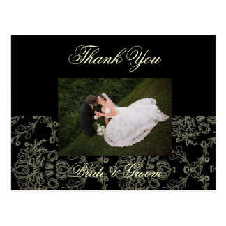 CREAM DAMASK WEDDING PHOTO THANK YOU POSTCARD
