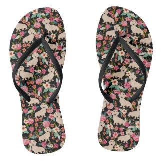Cream Doxie Floral - cream florals Flip Flops